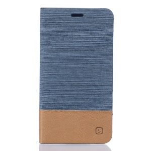 Two-color Linen Texture Leather Stand Cover Case for Doogee Valencia2 Y100 Pro - Baby Blue