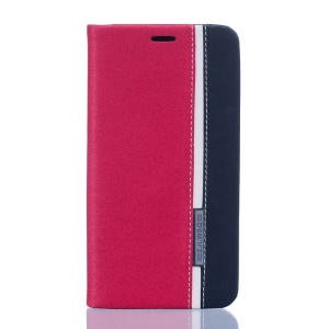 Two-color Leather Card Holder Case for Doogee Valencia2 Y100 Pro - Rose