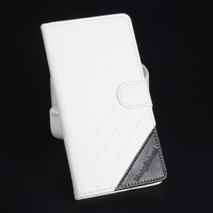 Crazy Horse Bi-color Leather Cover for Doogee X5 / X5 Pro - White