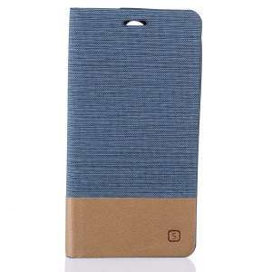 Bi-color Canvas Flip Leather Card Holder Shell for Doogee X6 - Baby Blue