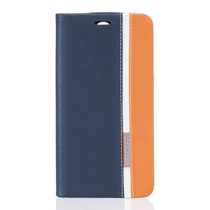 Assorted Color Leather Card Holder Stand Case for Doogee X6 - Dark Blue