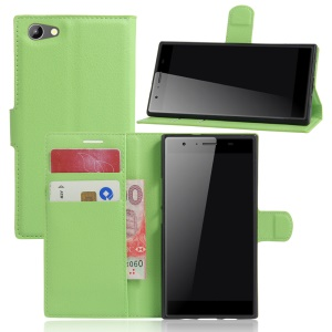 Litchi Skin Wallet Leather Stand Cover for Doogee Y300 - Green
