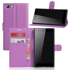 Litchi Skin Magnetic Leather Stand Case for Doogee Y300 - Purple