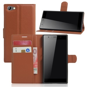 Litchi Skin Magnetic Leather Stand Cover for Doogee Y300 - Brown