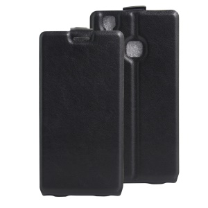 Crazy Horse Vertical Leather Card Holder Case for Doogee X5 Max - Black
