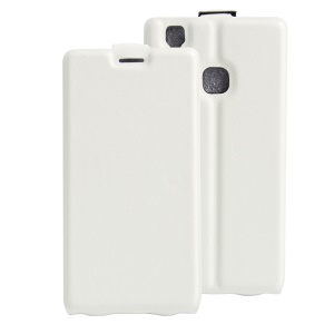 Crazy Horse Vertical Leather Card Holder Cover for Doogee X5 Max - White