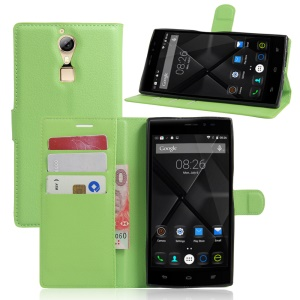 Litchi Skin Phone Leather Wallet Case for Doogee F5 - Green