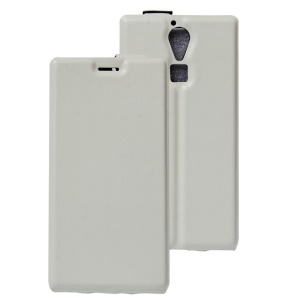 Crazy Horse Vertical Leather Card Holder Cover for Doogee F5 - White