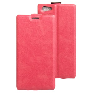 Crazy Horse Leather Vertical Cover with Card Slot for Doogee Y300 - Rose