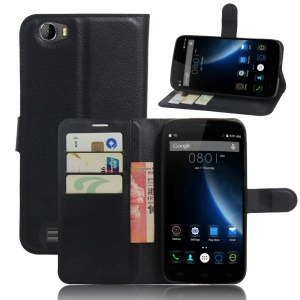 Litchi Texture Wallet Leather Stand Case for Doogee T6 / T6 Pro - Black