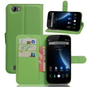 Litchi Texture Wallet Leather Case Accessory for Doogee T6 / T6 Pro - Green