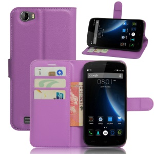 Litchi Texture Wallet Leather Cover Case for Doogee T6 / T6 Pro - Purple