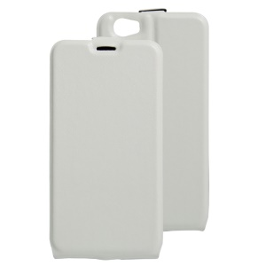 Crazy Horse Vertical Open Leather Card Slot Cover for Doogee T6 / T6 Pro - White