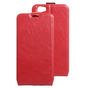 Crazy Horse Up-down Open Leather Card Holder Shell for Doogee T6 / T6 Pro - Red