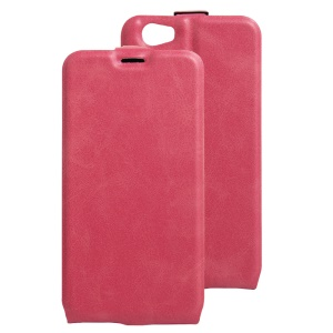 Crazy Horse Vertical Open Leather Card Holder Case for Doogee T6 / T6 Pro - Rose