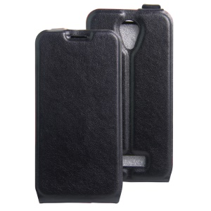 Crazy Horse Vertical Leather Case with Card Slot for Doogee X3 - Black