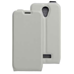Crazy Horse Vertical Leather Cover with Card Slot for Doogee X3 - White