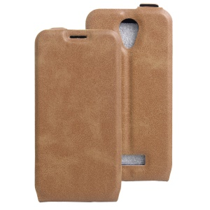 Crazy Horse Vertical Leather Case with Card Slot for Doogee X3 - Brown