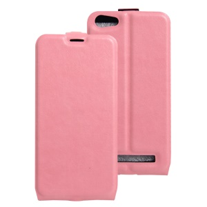 Crazy Horse Phone Leather Vertical Case with Card Slot for Doogee Y200 - Pink