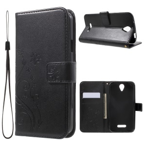 Butterfly Flowers Leather Wallet Case for Doogee X6 - Black