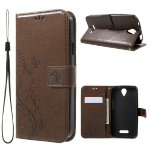 Butterfly Flowers Leather Wallet Case Cover for Doogee X6 - Brown
