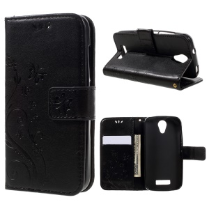 Butterfly Flowers Wallet Leather Stand Case for Doogee X3 - Black
