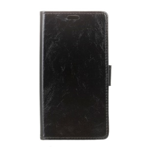 Crazy Horse Flip Phone Case Leather Stand Wallet for Doogee X9 Mini - Black