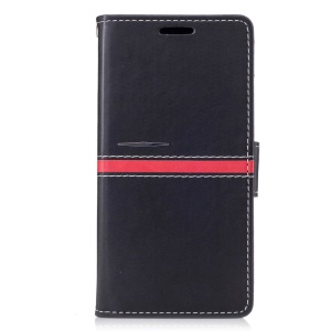For Doogee X5 Max Graceful Stitching Wallet Leather Phone Case with Stand - Black