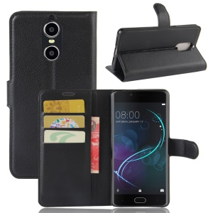 Litchi Texture Leather Wallet Cell Phone Case with Stand for Doogee Shoot 1 - Black