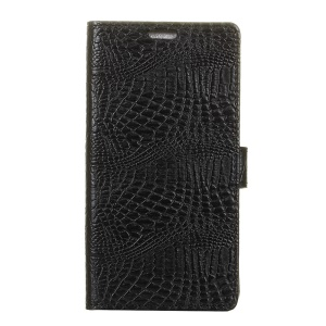 Crocodile Texture Leather Wallet Protective Case with Stand for Doogee Shoot 1 - Black