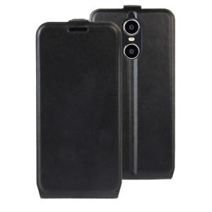 For Doogee Shoot 1 Vertical Flip Crazy Horse Leather Case with ID/Photo Slot - Black