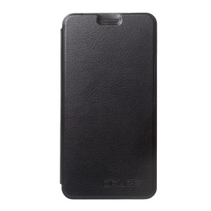 Litchi Texture Leather Stand Phone Casing for Doogee Shoot 2 - Black