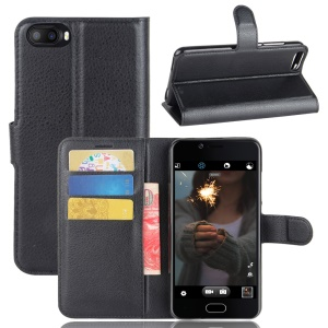 Lychee Skin Wallet Leather Cell Case with Stand for Doogee Shoot 2 - Black