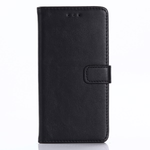 Retro Style Crazy Horse Leather Wallet Phone Cover for Doogee X10 - Black