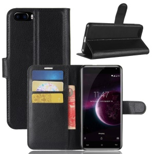 Litchi Skin PU Leather Wallet Stand Phone Shell for Cubot Magic - Black