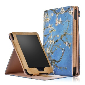 Pattern Printing Vertical PU Leather Smart Stand Shell with Hand Strap for Kobo Clara HD (2018) - Winersweet