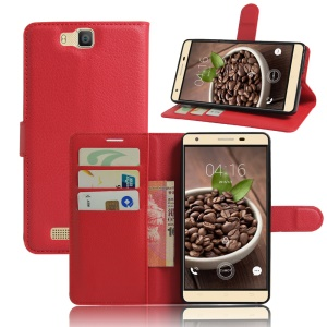 Litchi Grain Stand Wallet Leather Flip Cover for Cubot H2 5.5 Inch - Red