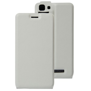 Vertical Flip Leather Card Holder Cover for Cubot Rainbow - White