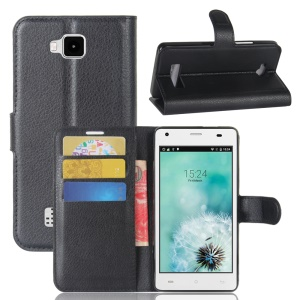 Litchi Skin PU Leather Wallet Stand Phone Case for Cubot Echo - Black
