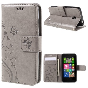 Butterfly Leather Wallet Case for Nokia Lumia 630 / 630 Dual SIM - Grey