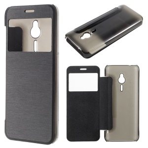 Brushed Leather View Window Case for Nokia 230 - Black