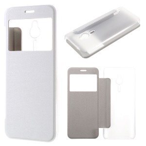 Brushed Leather View Window Cover for Nokia 230 / 230 Dual SIM - White