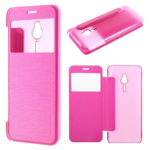 Brushed Leather View Window Flip Case for Nokia 230 / 230 Dual SIM - Rose