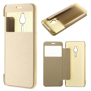 Brushed Leather View Window Flip Case for Nokia 230 - Champagne