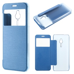Brushed Leather View Windows Phone Case for Nokia 230 - Blue
