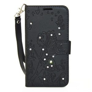 Butterfly Fairy Diamond Wallet Leather Case for Microsoft Lumia 650 - Black