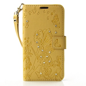 Butterfly Fairy Diamond Wallet Leather Stand Cover for Microsoft Lumia 650 - Yellow