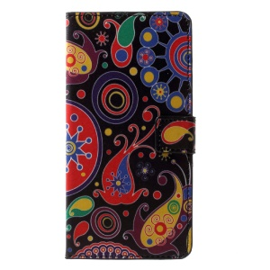 Patterned PU Leather Magnetic Wallet Protective Phone Shell with Stand for Nokia 6 - Abstract Pattern