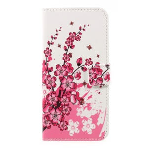 Patterned PU Leather Magnetic Wallet Stand Protective Phone Cover for Nokia 3 - Peach Flower