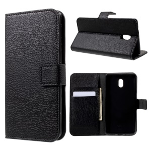 Litchi Skin Wallet Leather Stand Case for Nokia 3 - Black